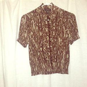 Bebe brown and tan silk shirt
